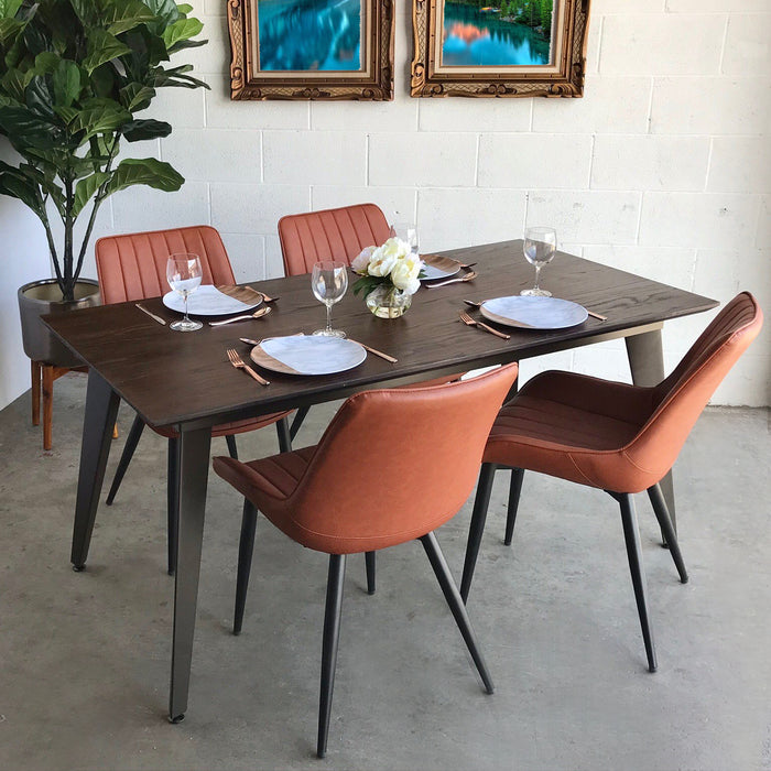 Liam Metal Dining Table with Wooden Top and Antique Espresso Legs