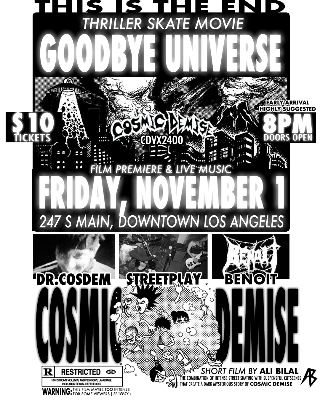 "COSMIC DEMISE ""CDVX2400"" Film Premiere Music Show At The Smell DTLA NOV. 2019"