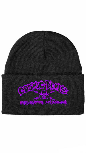 BARBWIRE BEANIE (  BLACK PURPLE )