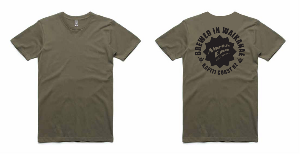 'Brewed in Waikanae' Printed Tee - Army - North End Brewery Co.