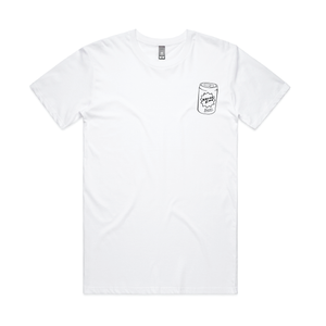 Can Badge' Printed Tee - White - North End Brewery Co.