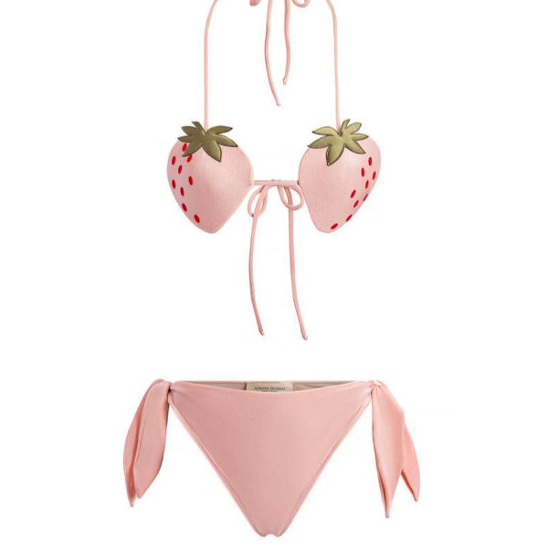 Strawberry High-Leg Strapless Bikini With Buckle