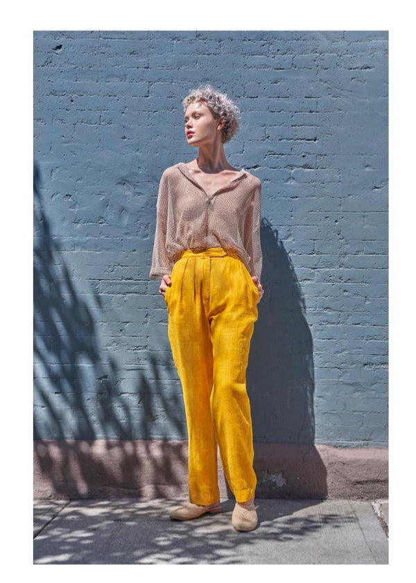 Relaxed-fit, lightweight linen pants, yellow