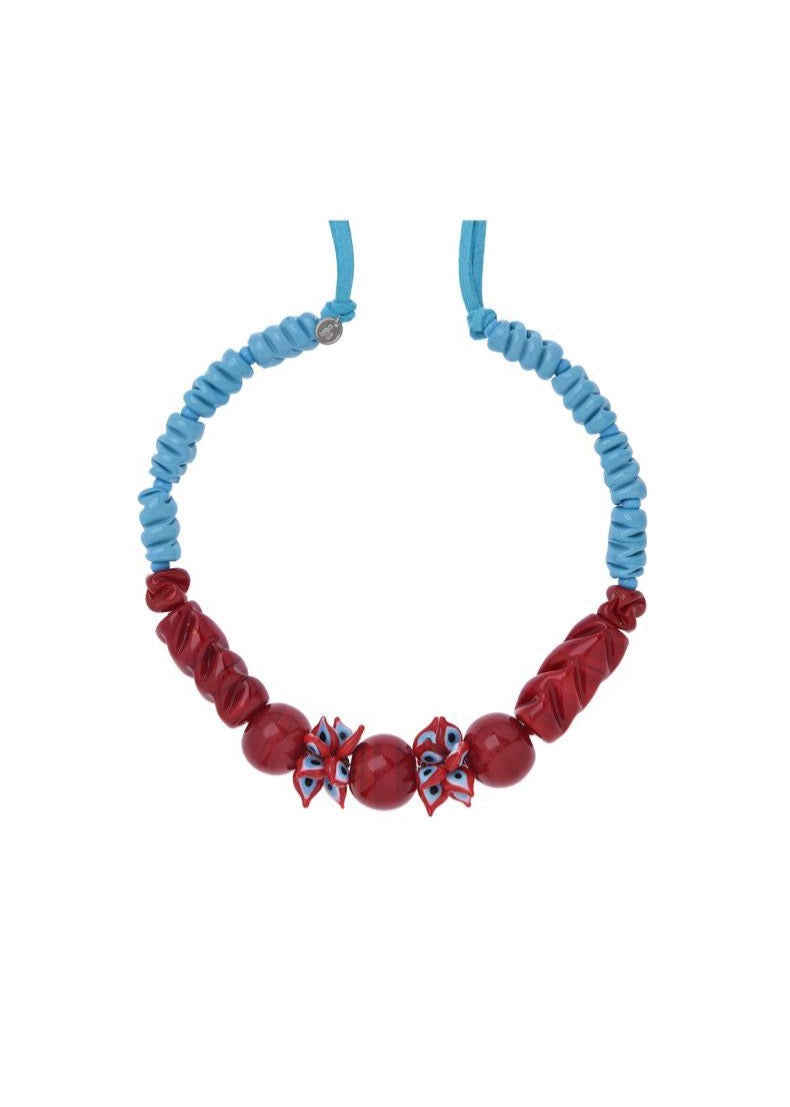 Turquoise and Red Muranos Necklace
