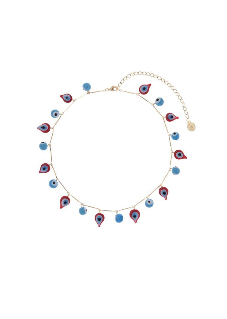 Turquoise and Red Drops Necklace