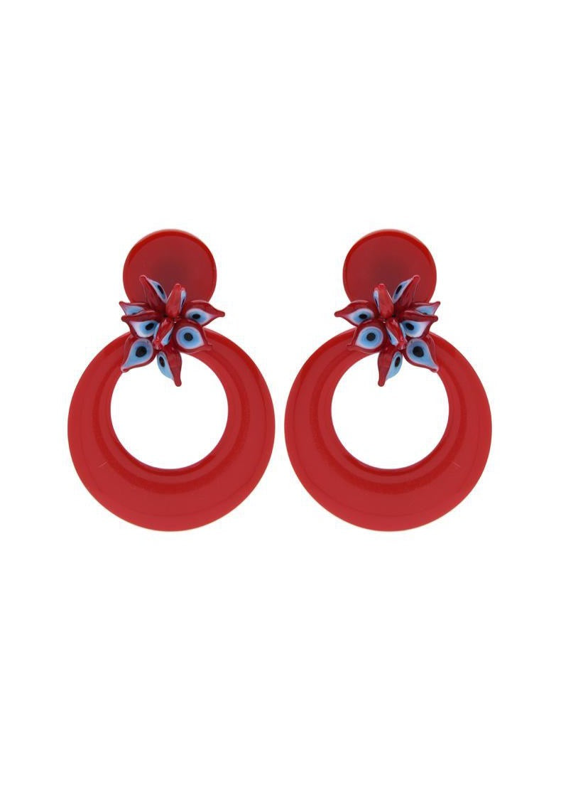 Earring Circles Eyes Red Drops