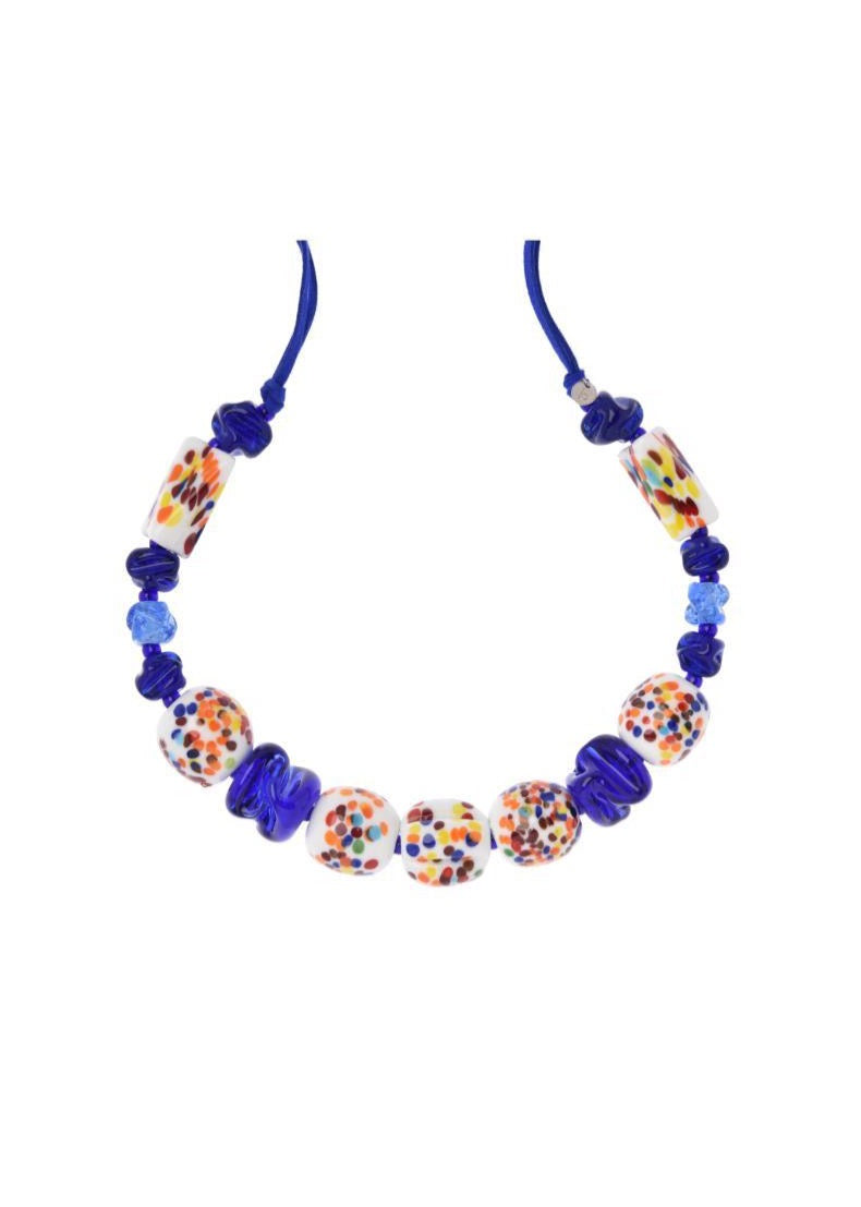 Colorful and Blue Muranos Necklace