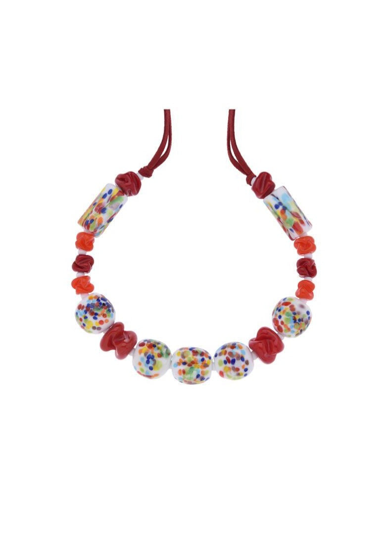 Colorful and Red Muranos Necklace