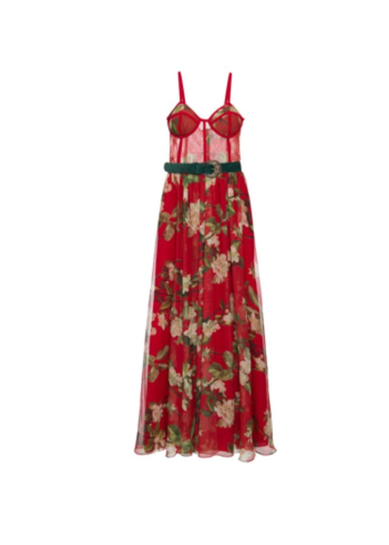 Floral Bustier Belted Maxi Dress