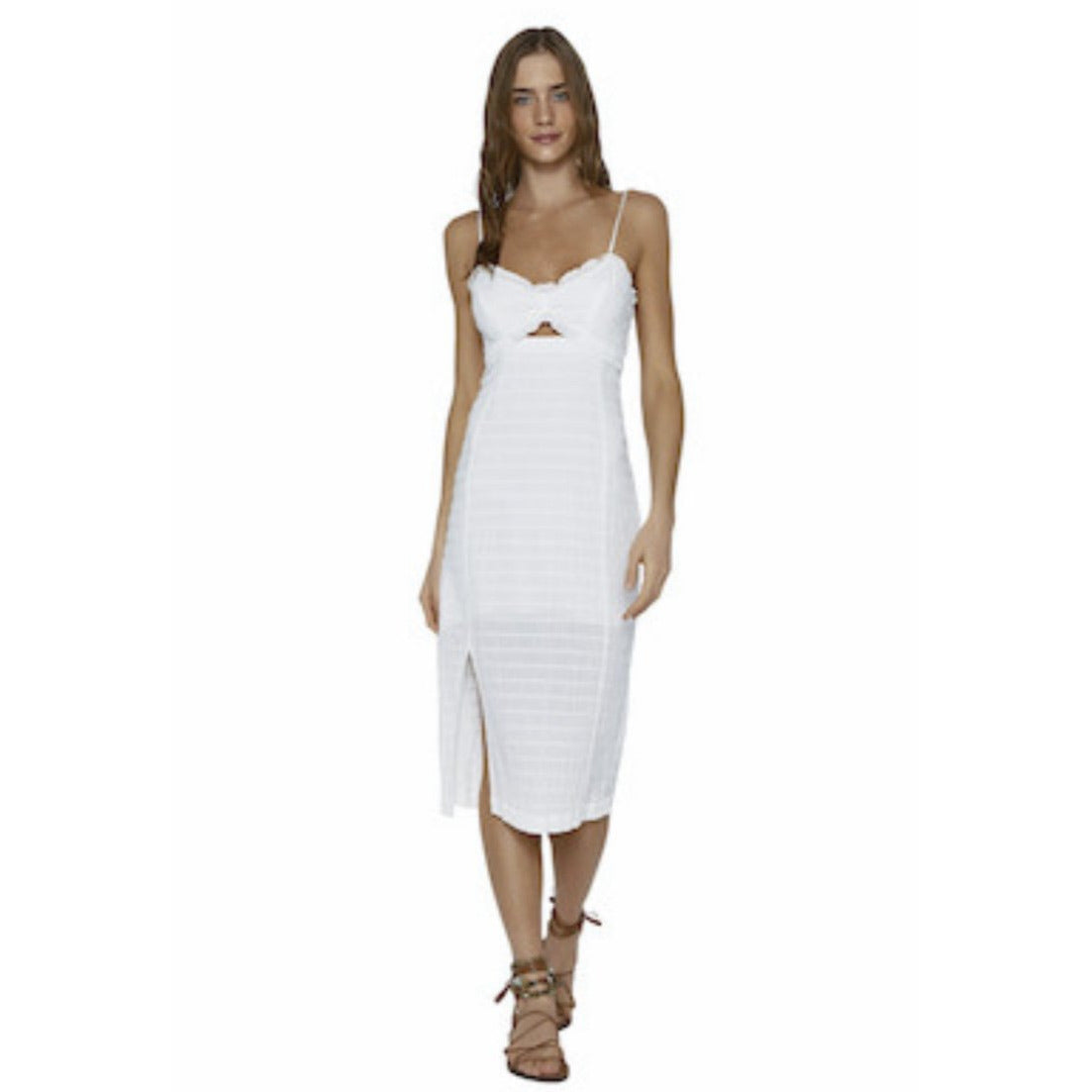 SOLID LORA MIDI DRESS