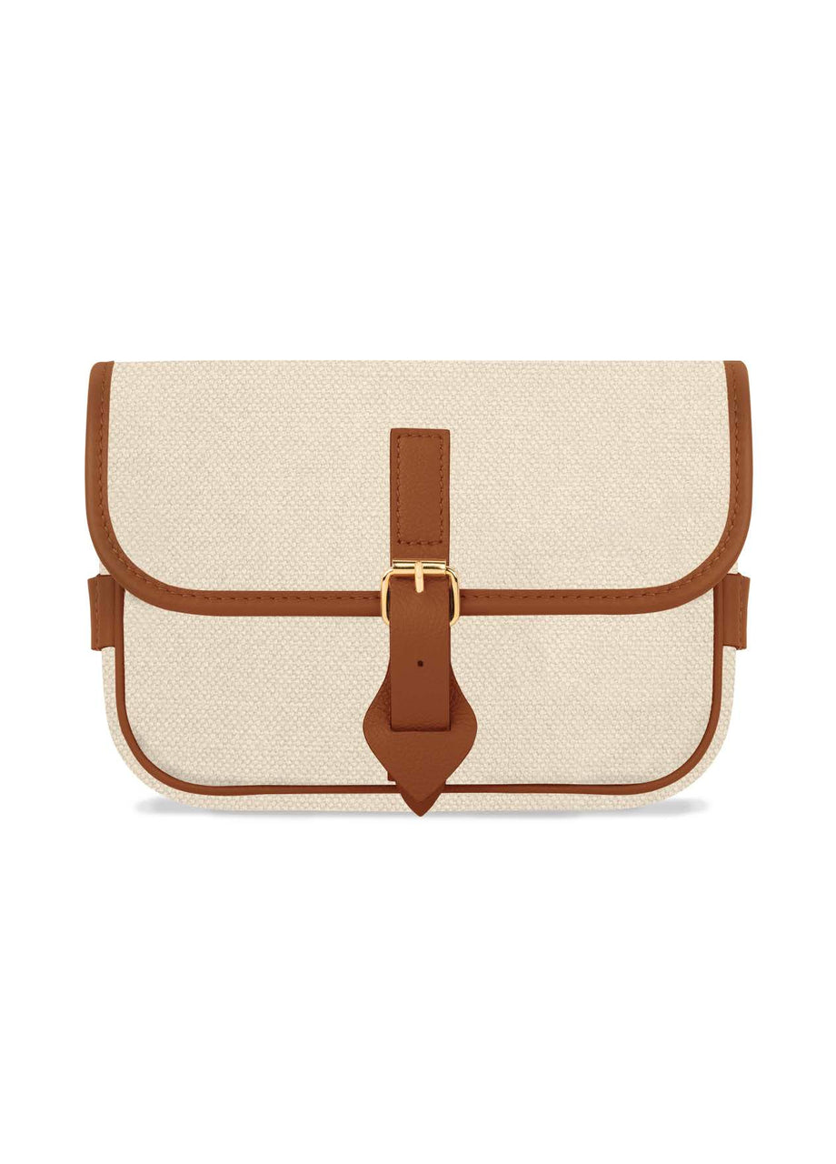 Belt Bag No.25 - Natural Canvas & Brown Leather