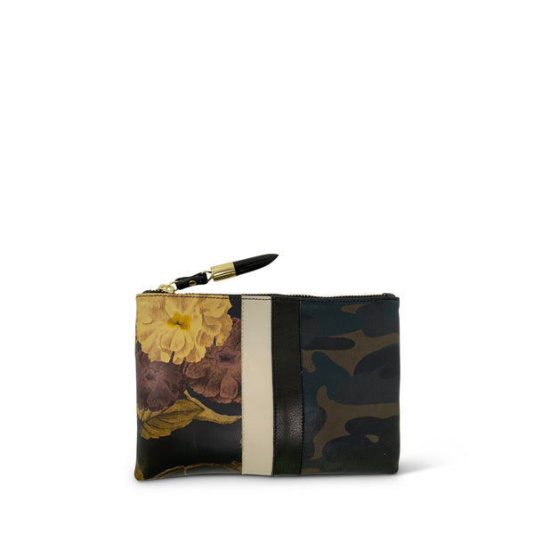 Small Pouch - Black Peony and Dark Camo