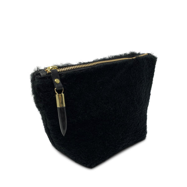 Shearling Makeup Bag - Black