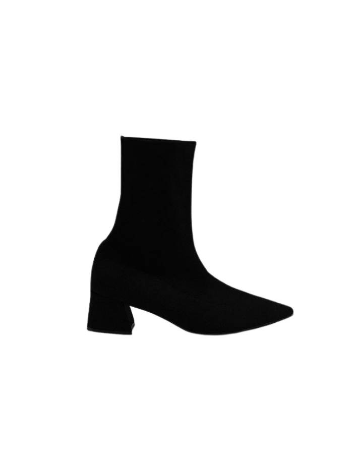 No. 10 Knit Ankle Boots - Black