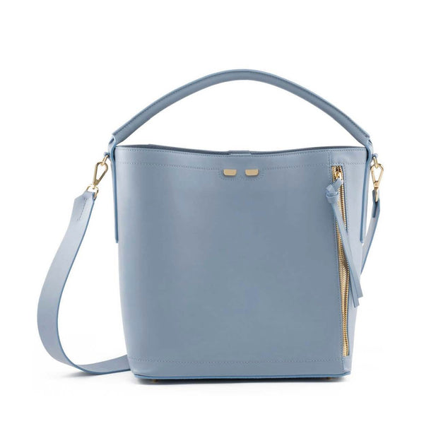 Leather bucket bag in light blue