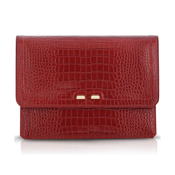 Red clutch in faux aligator leather