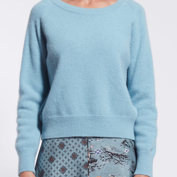 Cashmere Sweater with Silk Elbow Patch - Blue