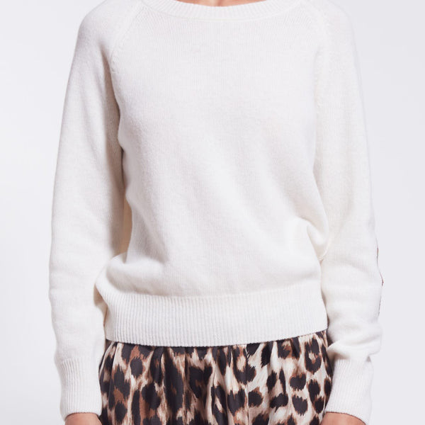 Cashmere Sweater with Silk Elbow Patch - Ivory