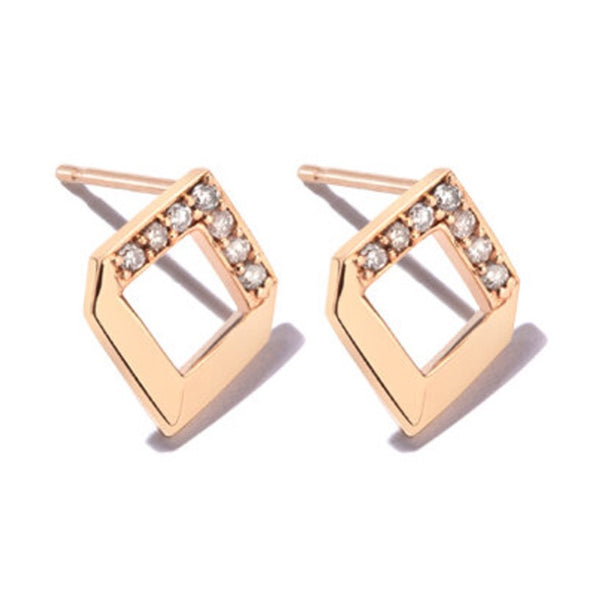 Chevron Earring with 1.2mm round cut diamonds