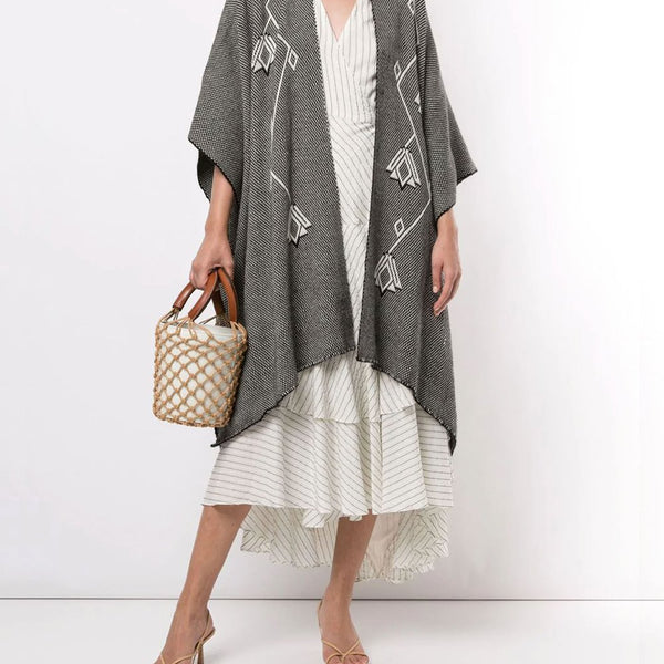 Copihue Duster in Merino - Black / Ivory