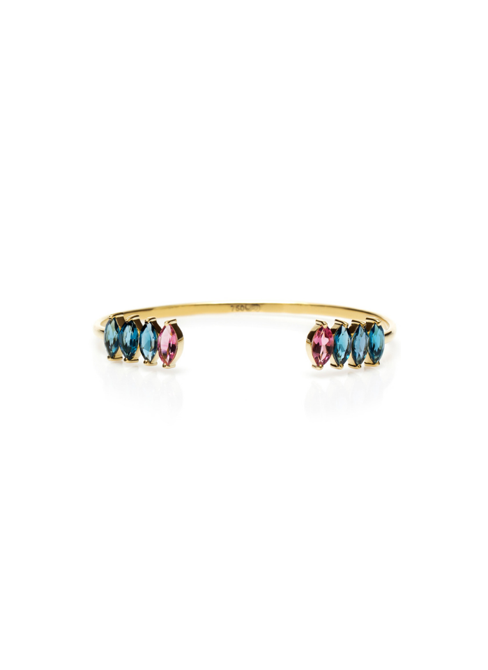 18K Gold Cuff with Pink Tourmaline & London Blue Topaz