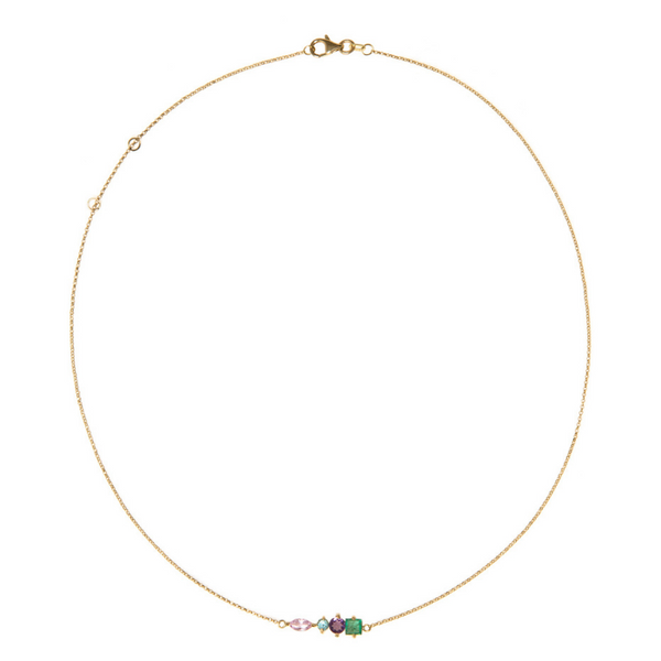 18K Gold Necklace with Amethyst, Apatite, Emerald and Pink Sapphire