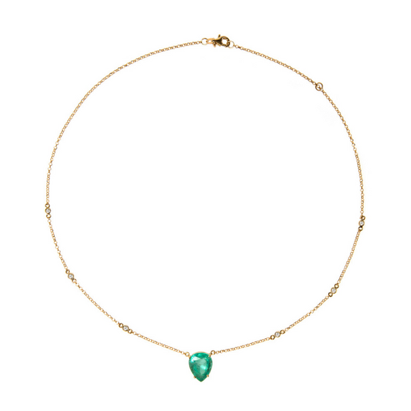 18K Gold Necklace with Emerald and Diamonds