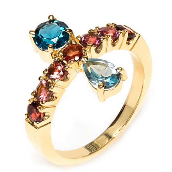 18K Gold Ring with London Blue Topaz, Sky Topaz and Pink Tourmaline