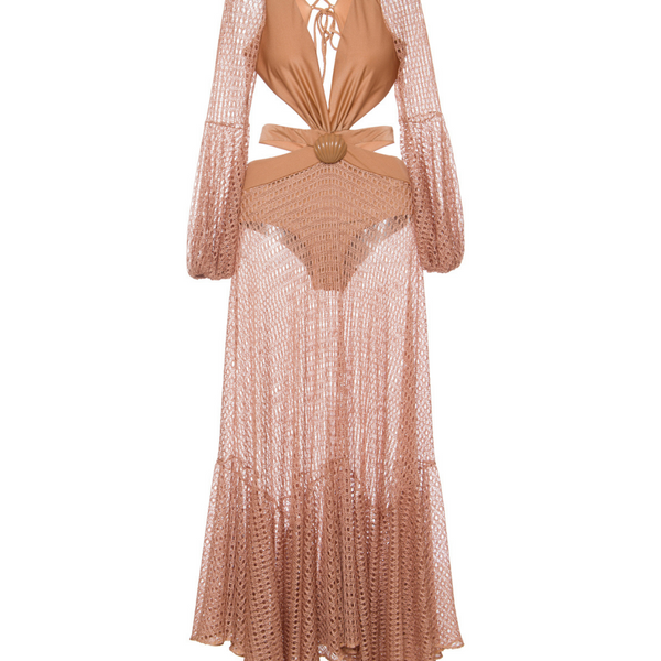 Cut-Out Netted Beach Dress