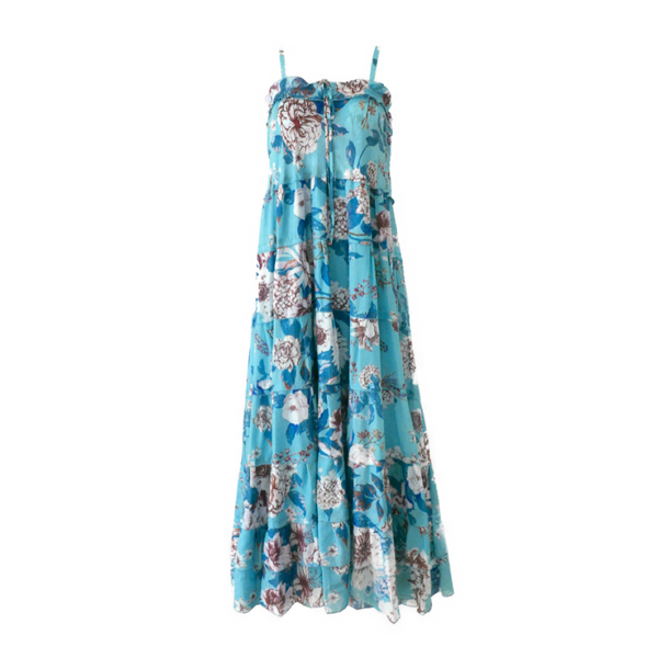 DVF Blue Voile Dress with White and Blue Floral Print
