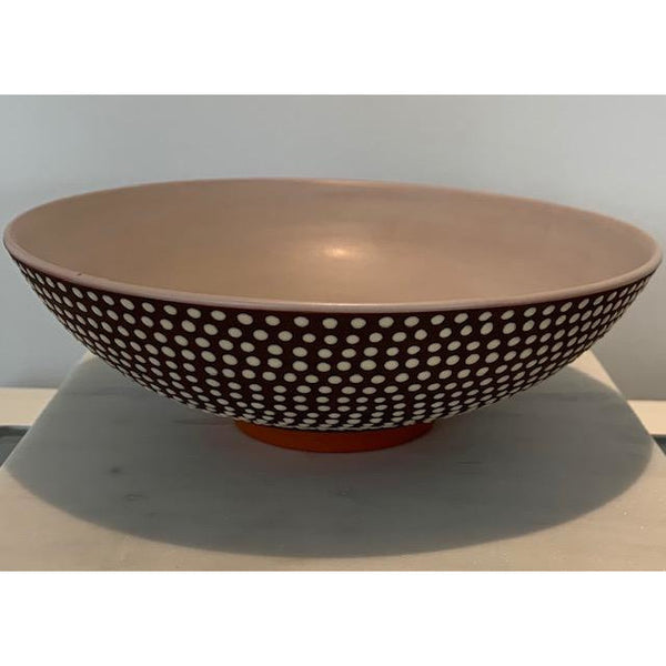 Espresso Khaki Dot Shallow Bowl
