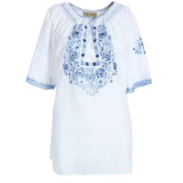 Eva  blouse White with blue