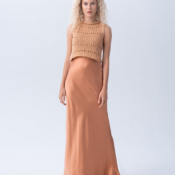 Flamme Knit Crop Top - Apricot
