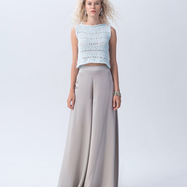 Flamme Knit Crop Top - Water