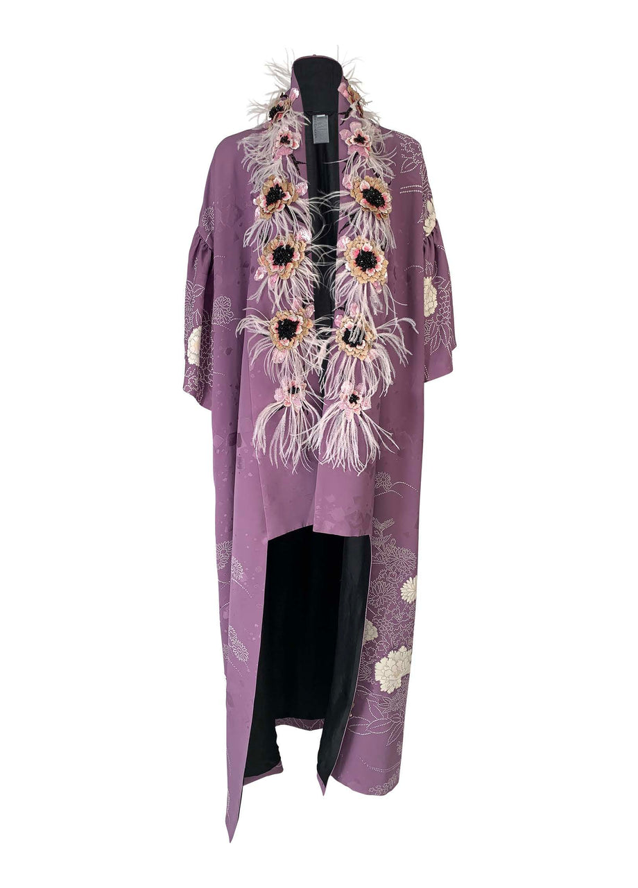 Floral Beaded and Feather Trimmed Kimono - Purple