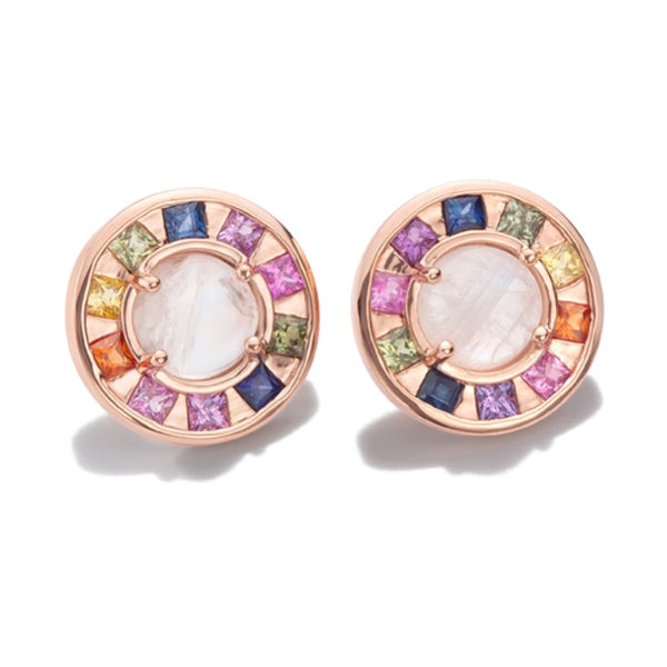 Full Moon Earrings with multicolored sapphires princess cut and moonstones