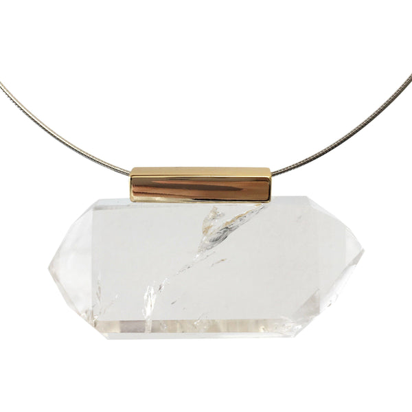 Gabi Quartz Necklace with Gold Chain