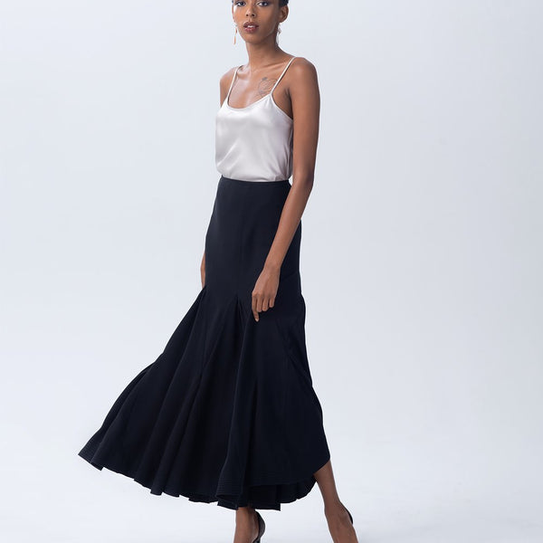 Harlequin Skirt in Rayon - Black
