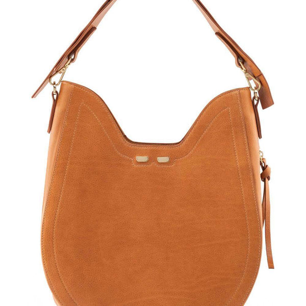 Leather hobo bag with caramel color leather