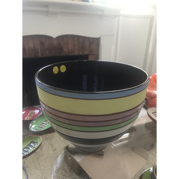 Striped Bowl with Espresso Interior