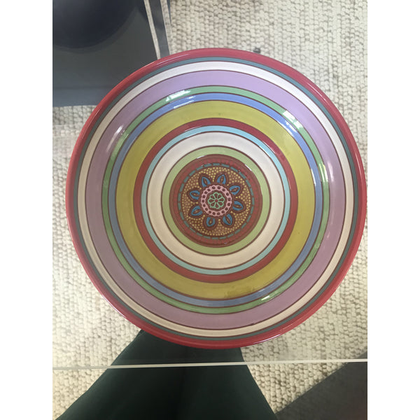 Red Rim Pink Daisy Striped bowl