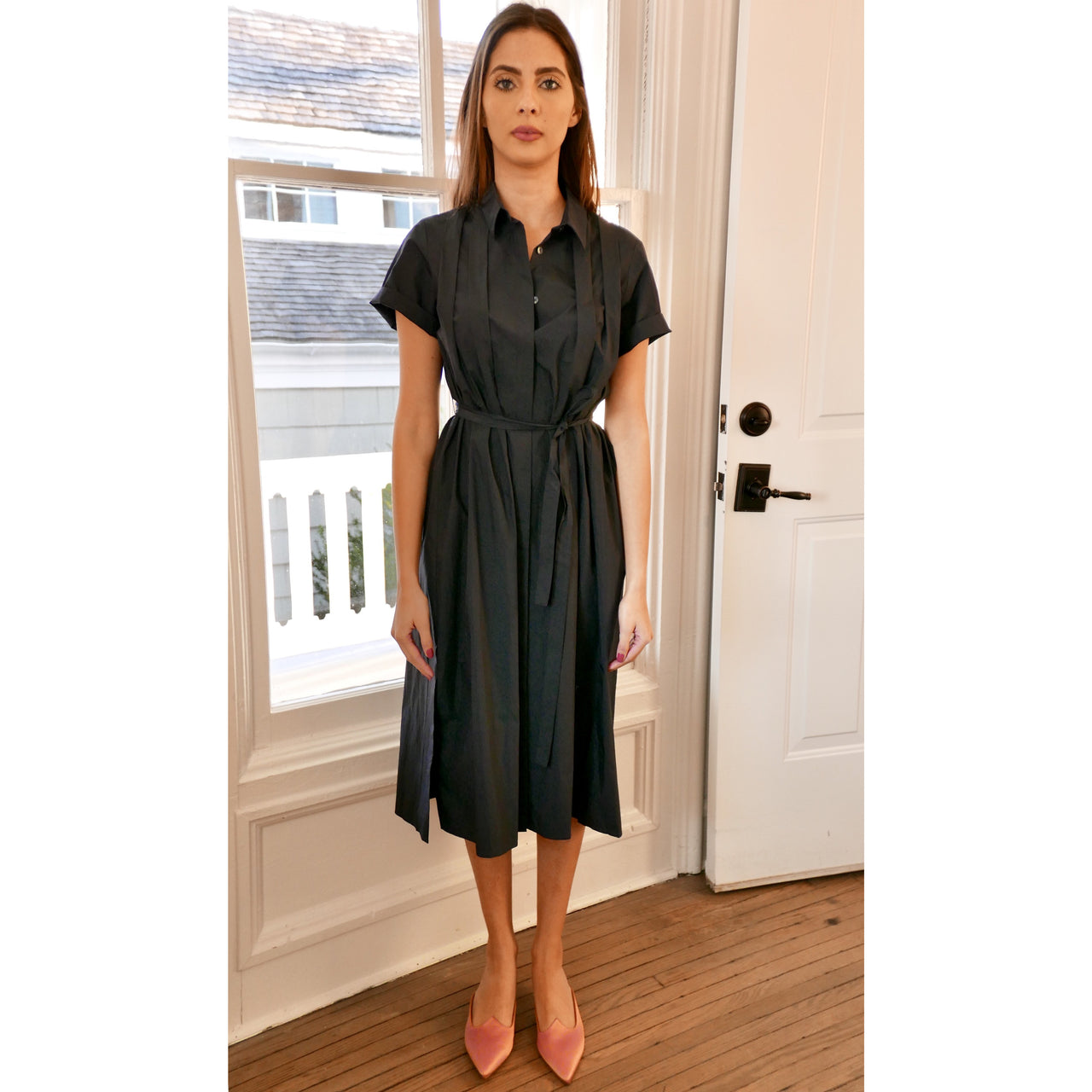Tuck Shirt Dress - Navy