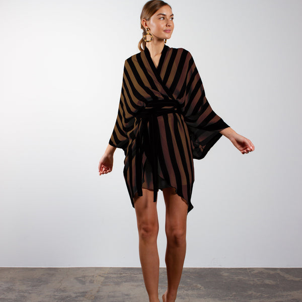 The Ignacio Breeze Long Robe - Black/Chocolate