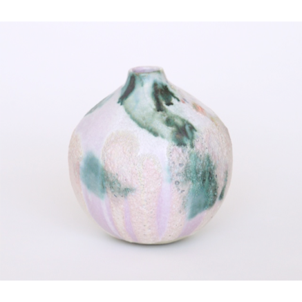 Vase in Oxide Wash over White and Lilac