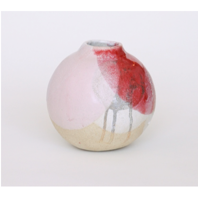 Vase in Oxide Wash over Red, White and Metallic