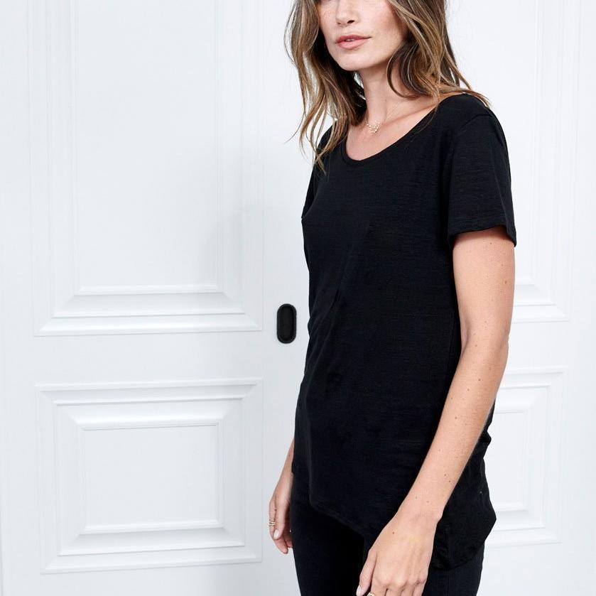Black Linen Short Sleeve Tee with Scoop Neck