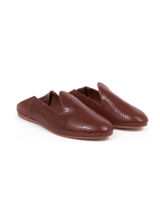 Pair of Babouche slipper brown faux snake leather