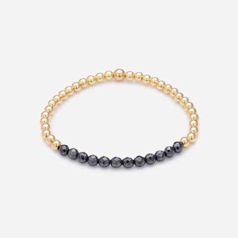 Lili Yellow Gold and Hematite Bracelet 4mm