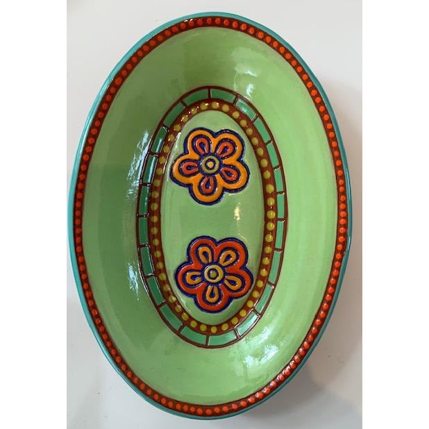 Lime Flower Oval Dish