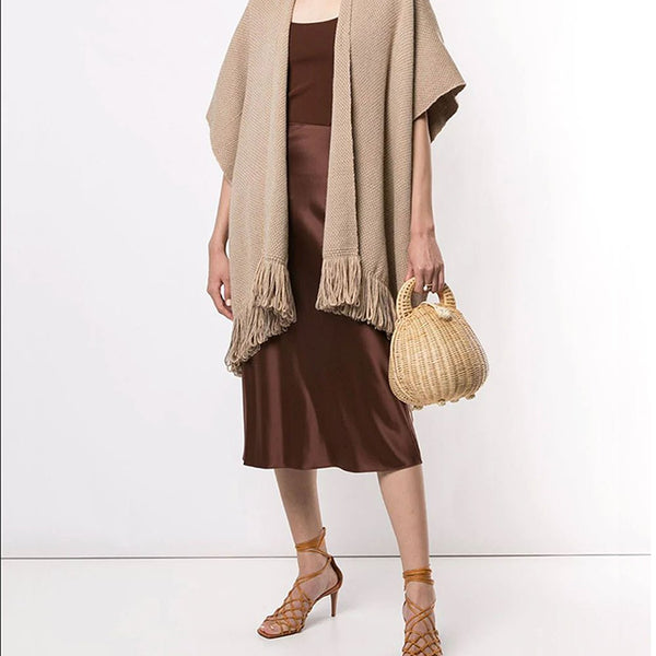 Linea Fringe Duster - Beige/Taupe